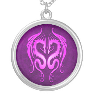 Tribal Dragons, purple Round Pendant Necklace