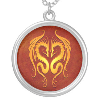Tribal Dragons, red and yellow Round Pendant Necklace