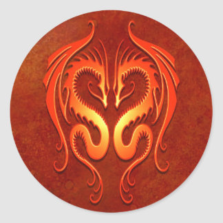 Tribal Dragons, red Classic Round Sticker
