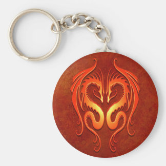 Tribal Dragons, red Keychain