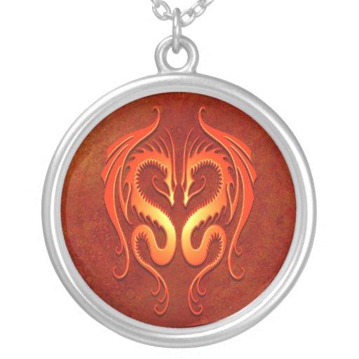 Tribal Dragons, red Pendant