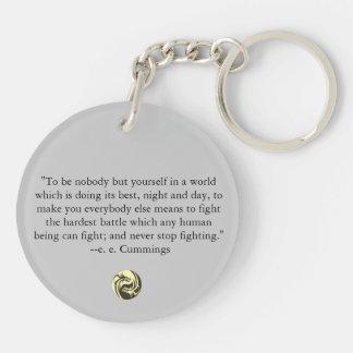 Tribal Dragons Yin Yang - ee Cummings Quote Acrylic Keychains