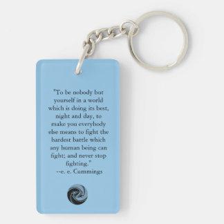 Tribal Dragons Yin Yang - ee Cummings Quote Acrylic Keychain