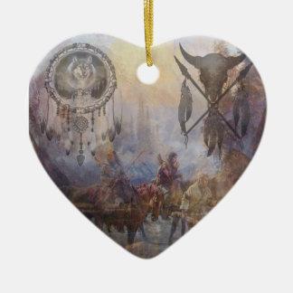 Tribal Dream Double-Sided Heart Ceramic Christmas Ornament