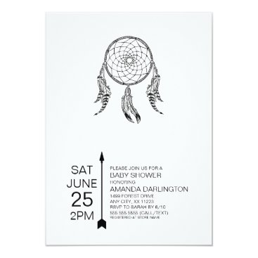 Aztec Themed Tribal Dreamcatcher Baby Shower Invites