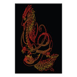 Tribal Eastern Dragon: Fire Poster