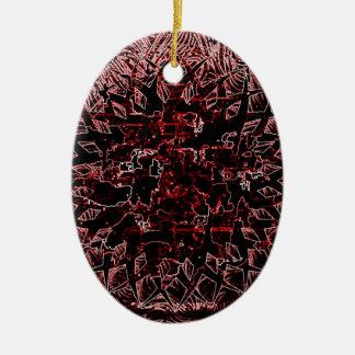 Tribal Effect Red Ceramic Ornament