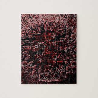 Tribal Effect Red Jigsaw Puzzle
