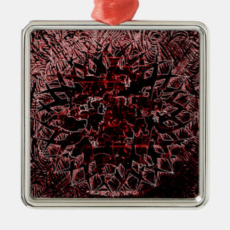 Tribal Effect Red Metal Ornament