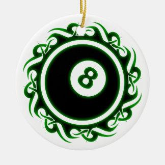 tribal eightball ceramic ornament