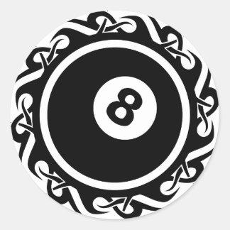 tribal eightball classic round sticker