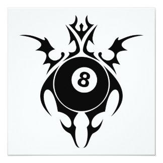tribal eightball 5.25x5.25 square paper invitation card