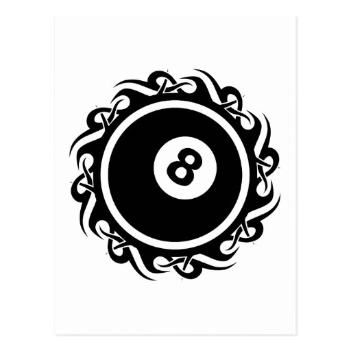 tribal eightball postcard