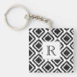 Tribal Elegant Black and White Ikat Pattern Square Acrylic Keychain