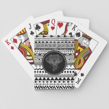 Aztec Themed Tribal Elephant Aztec Pattern Black White Silver Playing Cards