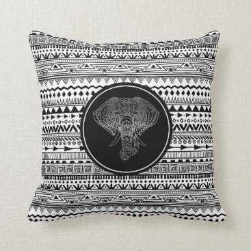Aztec Themed Tribal Elephant Black and White Jungle Theme Throw Pillow