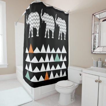 Aztec Themed Tribal Elephants Art Aztec Andes Zigzags Chevrons Shower Curtain
