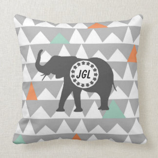 Tribal Elephants Aztec Andes Pattern Monogram Throw Pillow
