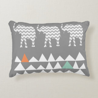Tribal Elephants Chevrons Aztec Andes Pattern Accent Pillow