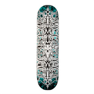 Tribal Empire Tattoo Black and White with blue Skateboard Deck