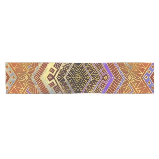 Tribal  Ethnic Boho Pattern burnt orange and gold Short Table Runner