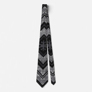 Tribal  Ethnic Boho Pattern Wooden Texture Neck Tie