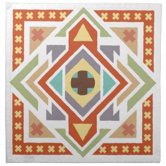 Tribal étnico geométrico del sudoeste modelado servilletas imprimidas