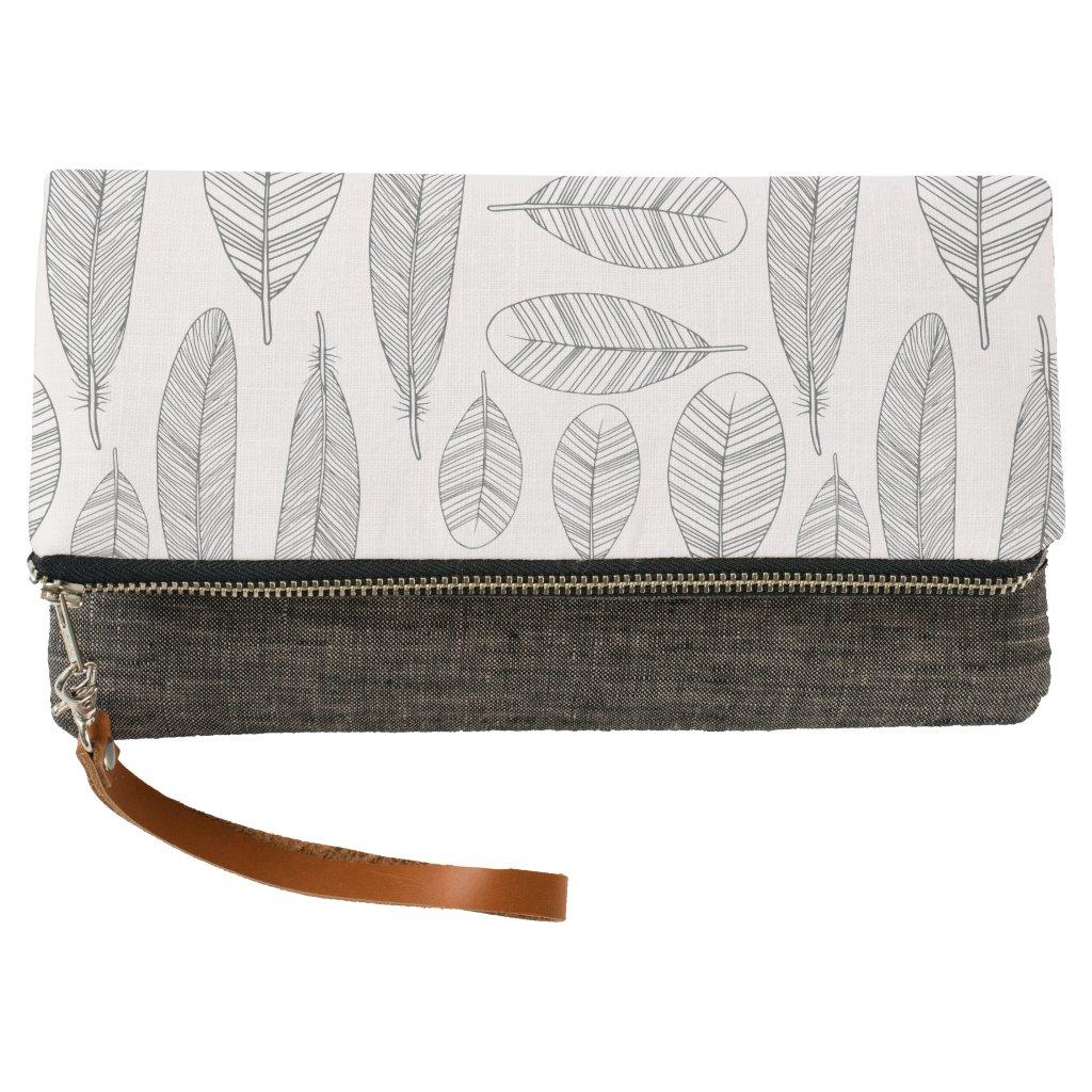 Tribal Feather Pattern Boho Clutch