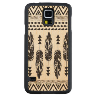 """""""Tribal Feathers"""" Maple Wood Galaxy S5 Case Carved® Maple Galaxy S5 Slim Case"""