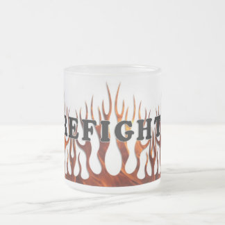 Tribal FF Flames 10 Oz Frosted Glass Coffee Mug