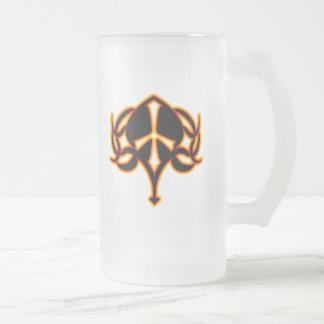 TRIBAL FIRE PEACE SIGN FROSTED GLASS BEER MUG
