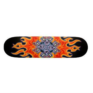 Tribal Fire Skull Design Skateboard Deck