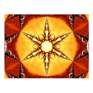Tribal Fire Star Kaleidoscope Mandala Post Cards