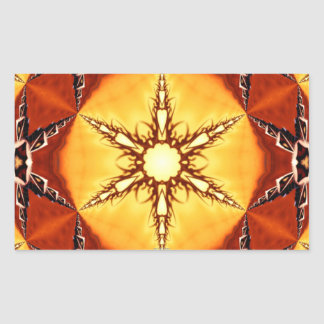 Tribal Fire Star Kaleidoscope Mandala Rectangular Stickers