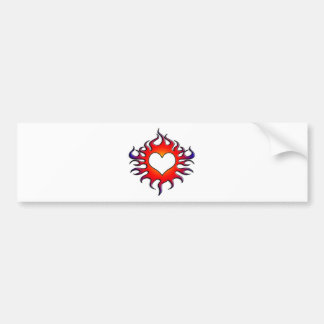 tribal flames heart bumper sticker