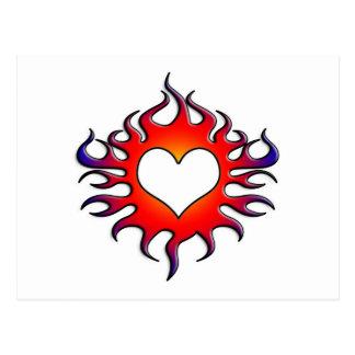 tribal flames heart postcard