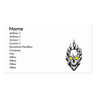 tribal flames skull business cards