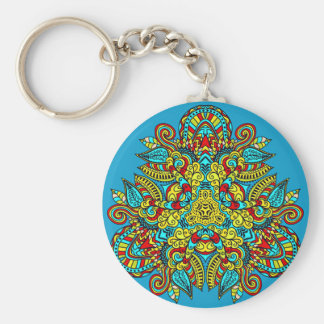 Tribal Floral Pattern Keychain