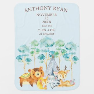 Tribal Forest Animal Baby Boys Birth Stats Blanket