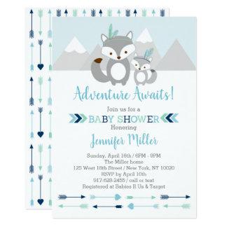 Tribal Fox Adventure Baby Shower Card