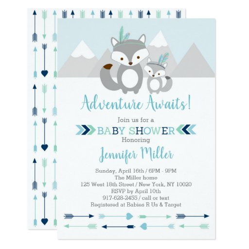 Tribal Fox Adventure Baby Shower Card