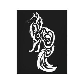 Tribal Fox Kitsune Canvas Print