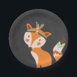 """Tribal Fox Paper Plates Wild one Woodland Boho<br><div class=""""desc"""">♥ A perfect addition to your party! Tribal Bear theme.</div>"""