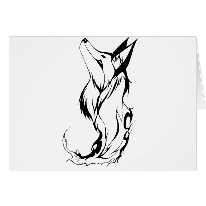 Tribal Fox Tattoo Design Card
