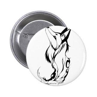 Tribal Fox Tattoo Design Pinback Button