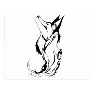 Tribal Fox Tattoo Design Postcard
