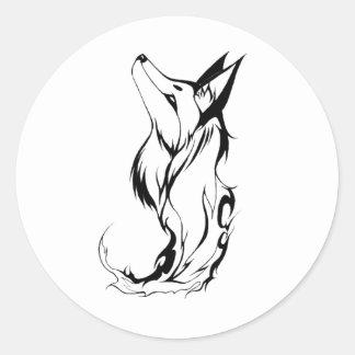 Tribal Fox Tattoo Design Round Sticker