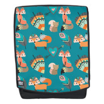 Tribal Foxes on Teal Pattern Backpack
