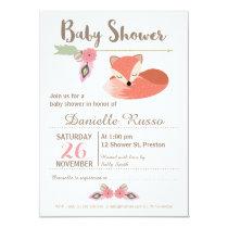 Tribal Foxl Girls Baby Shower Invitation