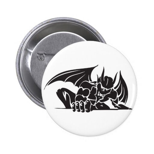 tribal gargoyle design pinback button